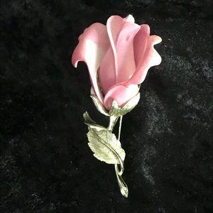 Vintage pink rose bud brooch pin flower